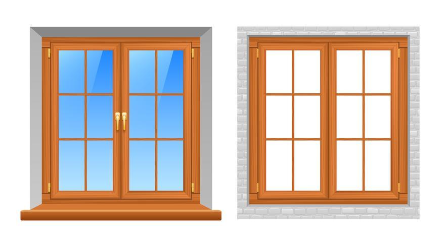 Träfönster inomhus utomhus realistiska ikoner vektor