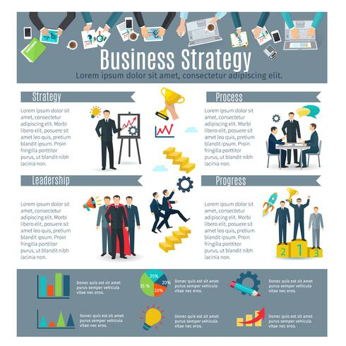 Affärsstrategi Infographic Set vektor