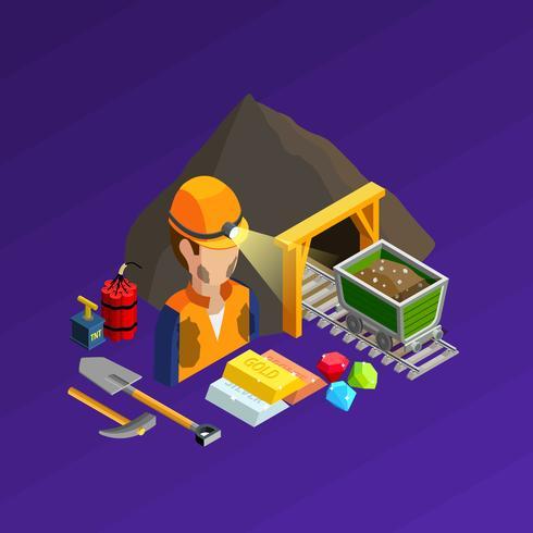 Mining Work Isometric Concept vektor