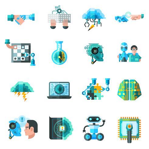 Konstgjorda intelligens ikoner vektor