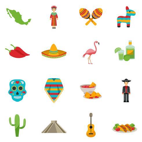 Mexiko Flat Icon Set vektor