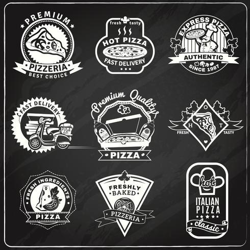 Pizza-Tafel-Embleme eingestellt vektor