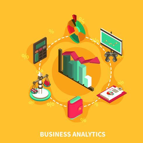 business analytics isometric runda sammansättning vektor