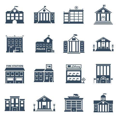 Regierungsgebäude-schwarze Ikonen eingestellt vektor