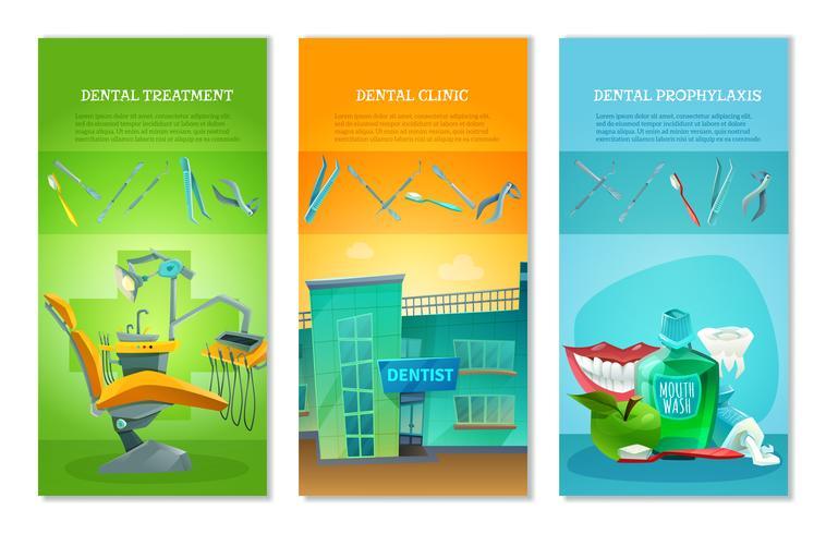 Zahnarzt 3 flache vertikale Banner Set vektor