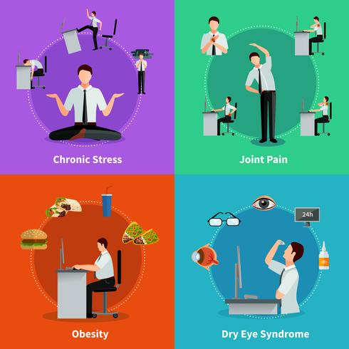 Office Syndrome 2x2 Design Concept vektor