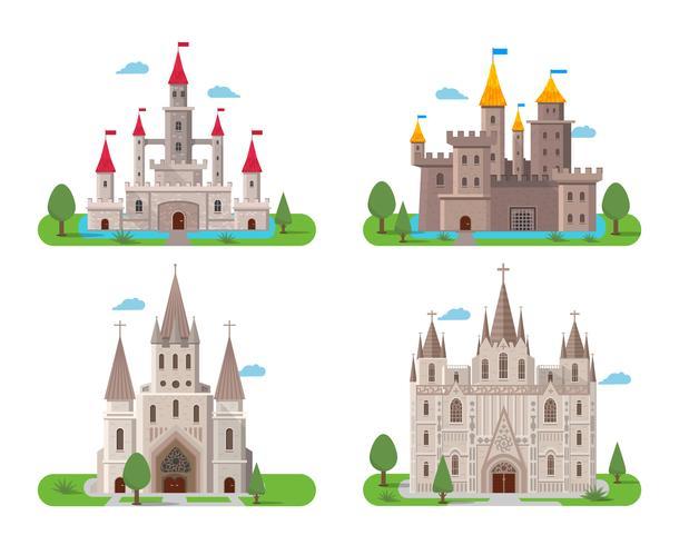 Medeltida gamla slott set vektor