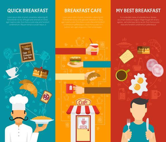 Frühstück vertikale Banner eingestellt vektor