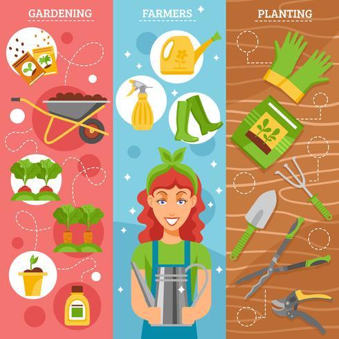Jordbrukare trädgårdsarbete 3 platta banderoller uppsättning vektor