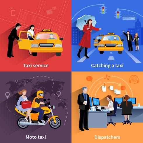 taxi service 2x2 banners set vektor