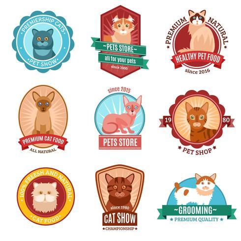 Katzen Emblem Set vektor