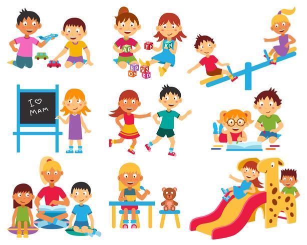 Barnspel ikoner uppsättning vektor