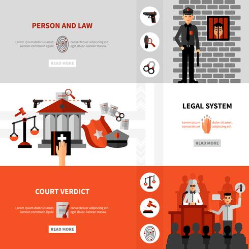 Gesetzliche Rechtssystem Flat Banner Set vektor