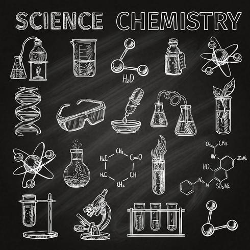Vetenskap och kemi ikoner uppsättning vektor