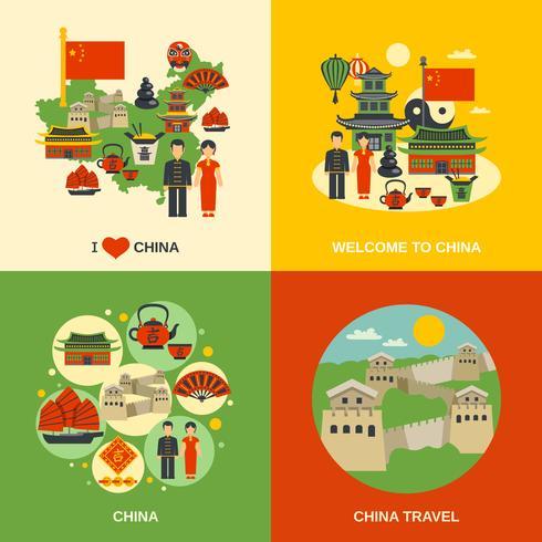 China Culture 4 Flat Icons Square vektor