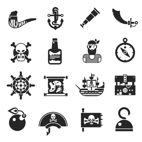 Piraten schwarze Icons Set vektor