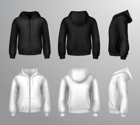 Svarta och vita manliga tröjor vektor