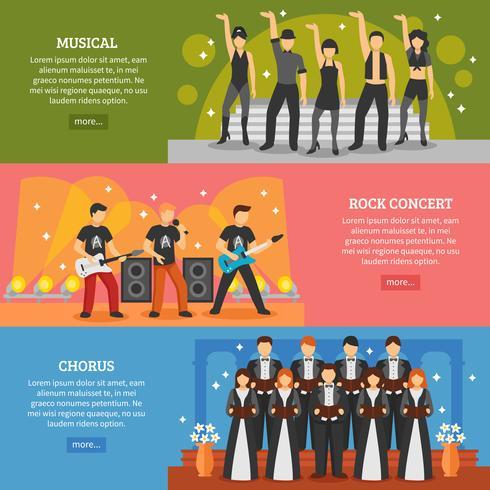 Populära musik horisontella banderoller vektor