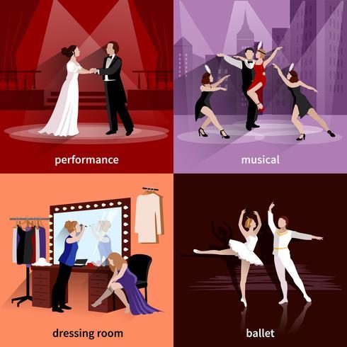 Set mit 2x2 Theaterbildern vektor