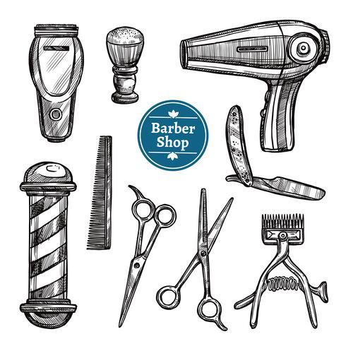 Barber Shop Set Doodle Sketch Icons vektor