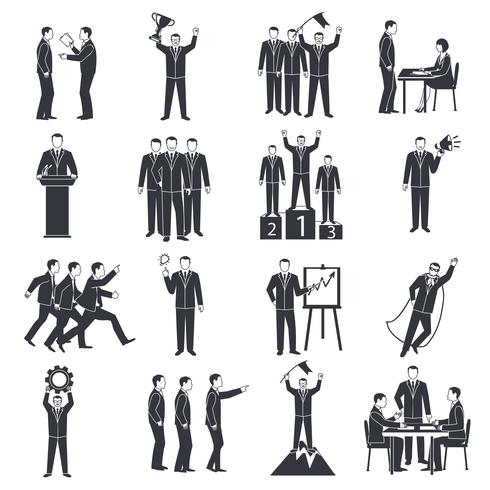 Leadership Black White Icons Set vektor