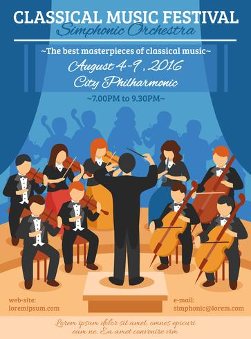 Klassisches Musikfestival Flat Poster vektor