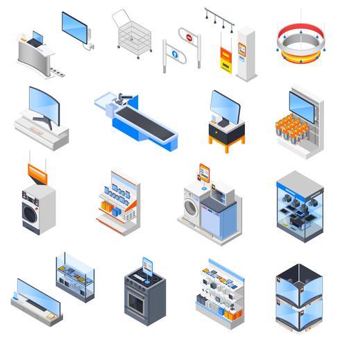 Elektronik-Supermarkt-Icon-Set vektor