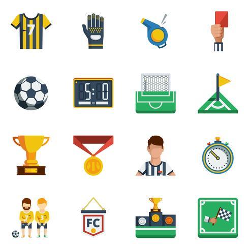 fotboll platt ikonuppsättning vektor