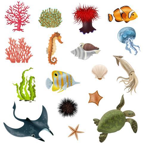 Set i havet liv tecknade ikoner vektor