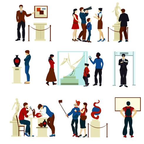 Människor I Museum Gallery Färg Ikoner vektor