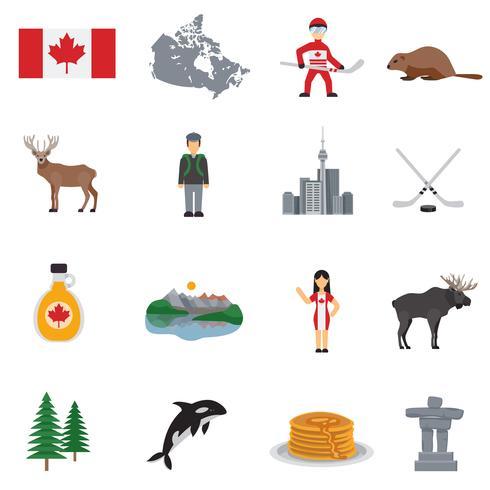 Kanada flache Icons Set vektor