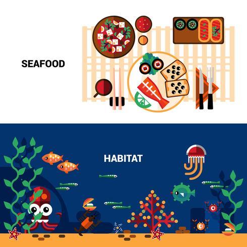 Horisontell Seafood Banners Set vektor