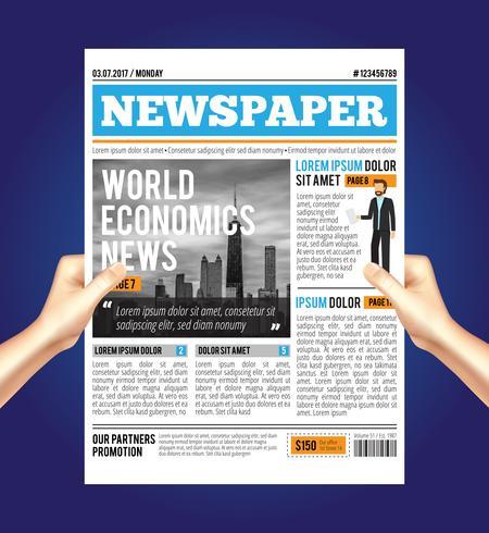 världsekonomiska tidningssammansättningen vektor
