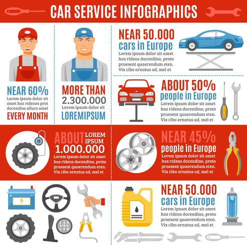 Auto Repair Service Flat Infographic Banner vektor