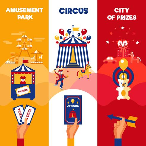 Amusement Park Circus Biljetter 3 Vertikala Banderoller vektor
