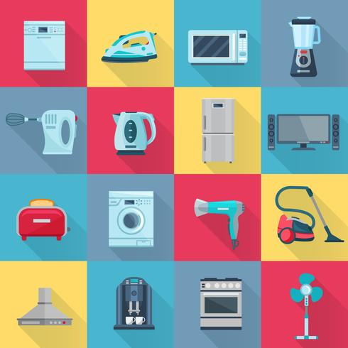 Flat Color Household Appliances Ikoner vektor