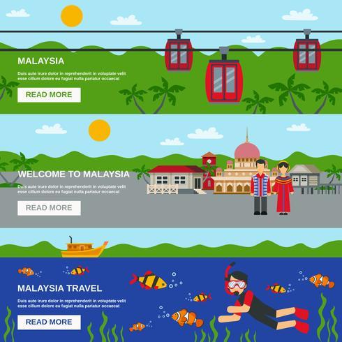 Malaysia Culture 3 Flat Banners Set Design vektor