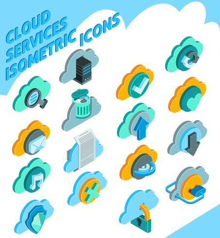 Inställningar för Cloud Services-ikoner vektor