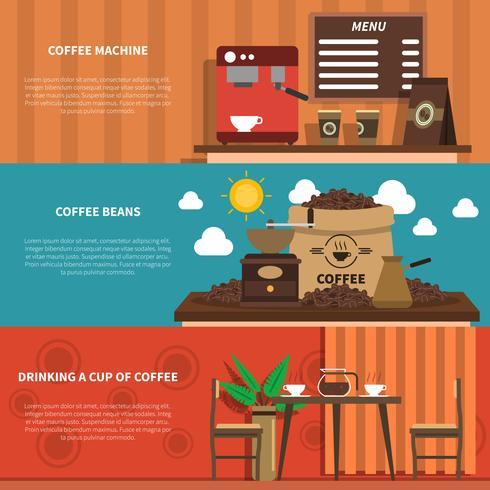 Kaffee-Bar 2 flache horizontale Banner vektor