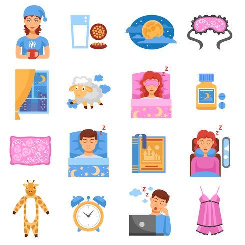 Hälsosam sovande platta ikoner vektor
