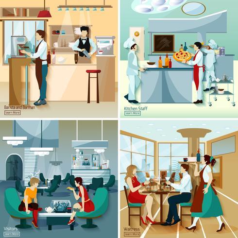 Konzept des Restaurant-Leute-2x2 vektor
