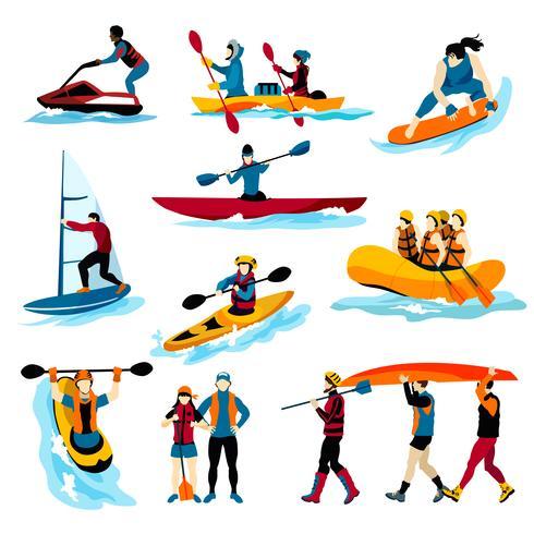 Människor I Extreme Vattensporter Färg Ikoner vektor