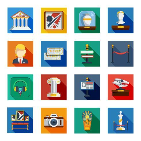museum platta kvadratiska ikonuppsättning vektor