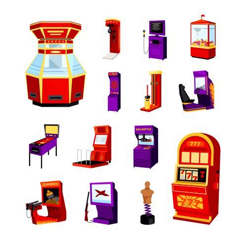 Spielmaschine Icons Set vektor