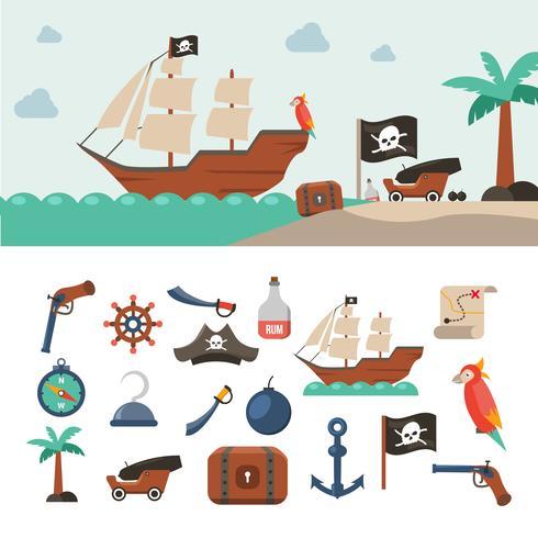 Piratikoner set vektor
