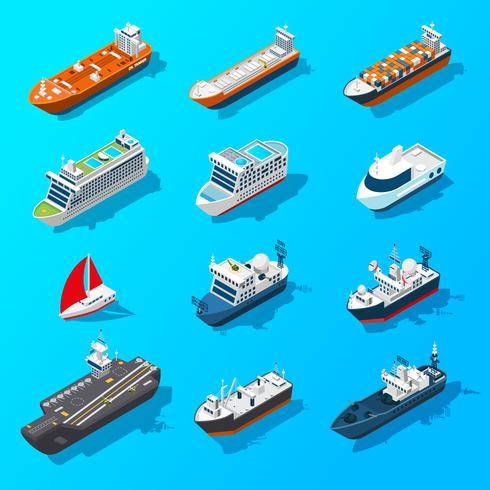Ships Båtar Fartyg Isometrisk Icon Set vektor