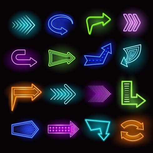 Neonpfeile eingestellt vektor