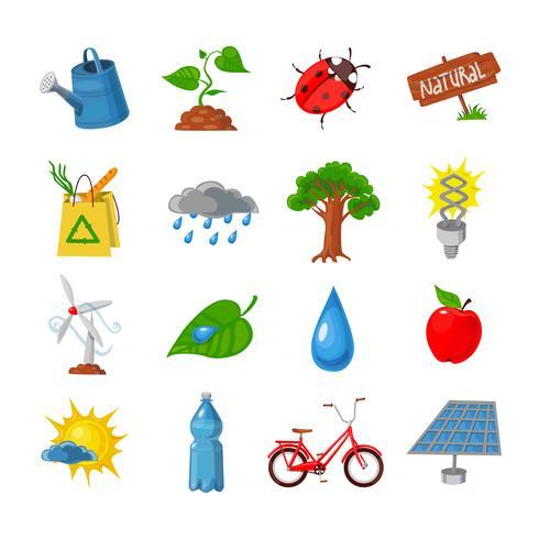 Eco ikoner uppsättning vektor