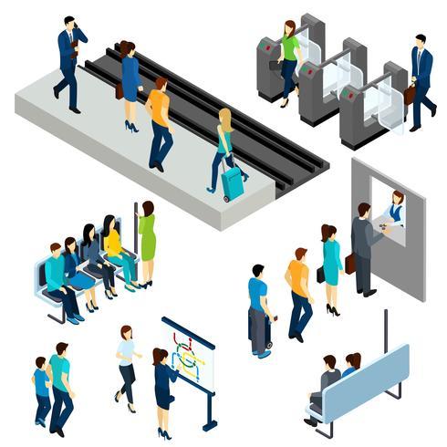 Metro-U-Bahnstation-isometrische Zusammensetzungsfahne vektor