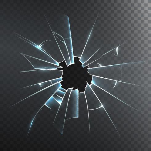 Gebrochene realistische Ikone des bereiften Glases vektor